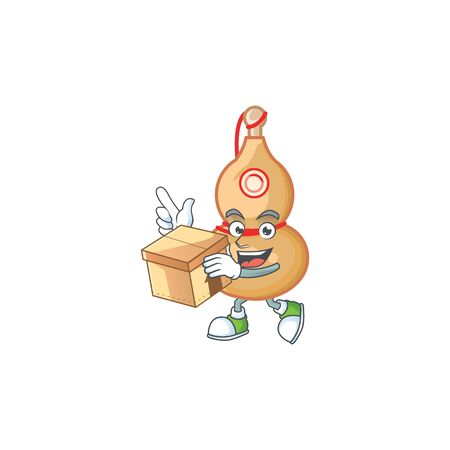 Cute chinese wine bottle cartoon character having a box. Vector illustration