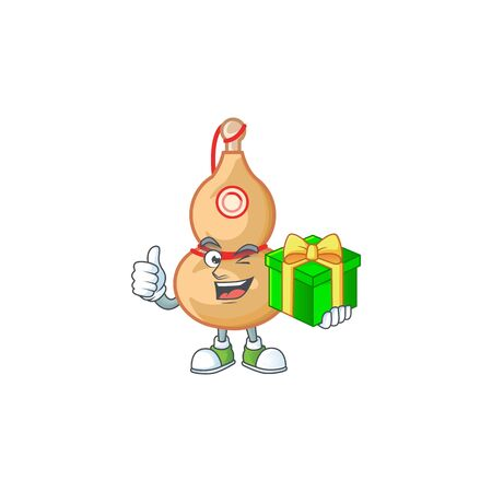 Smiley chinese wine bottle character with gift box. Vector illustration