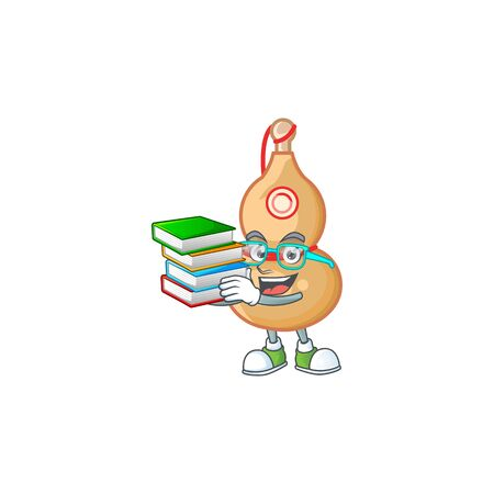 Cool and clever Student chinese wine bottle mascot cartoon with book. Vector illustration Ilustrace