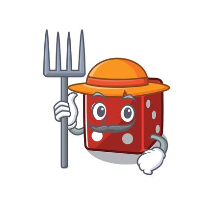 Cheerfully Farmer dice cartoon picture with hat and tools Illustration
