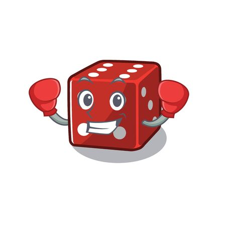 Sporty Boxing dice mascot in character style. Vector illustration