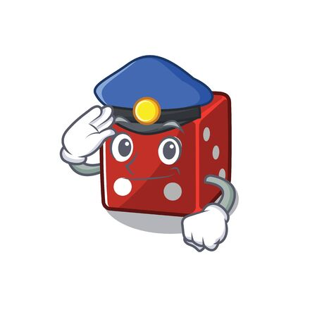 Dice Cartoon mascot performed as a Police officer. Vector illustration