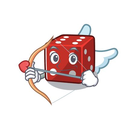 Romantic dice Cupid cartoon character with arrow and wings. Vector illustration