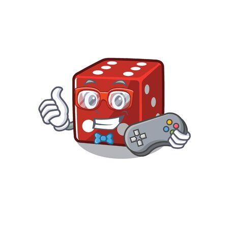 Smiley gamer dice cartoon in mascot style. Vector illustration