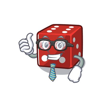 cartoon character of Businessman dice wearing glasses