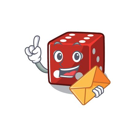 Cheerfully dice mascot design with the envelope. Vector illustration