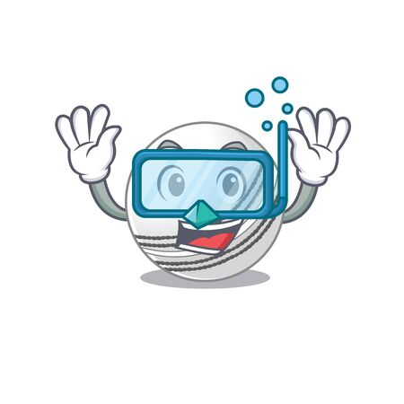 cartoon character of cricket ball wearing Diving glasses