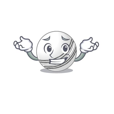 Super Funny Grinning cricket ball mascot cartoon style