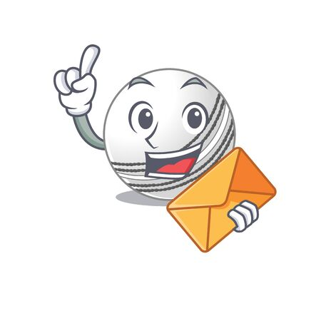 Cheerfully cricket ball mascot design with envelope