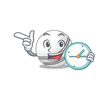 cartoon character style cricket ball having clock. Vector illustration Illustration