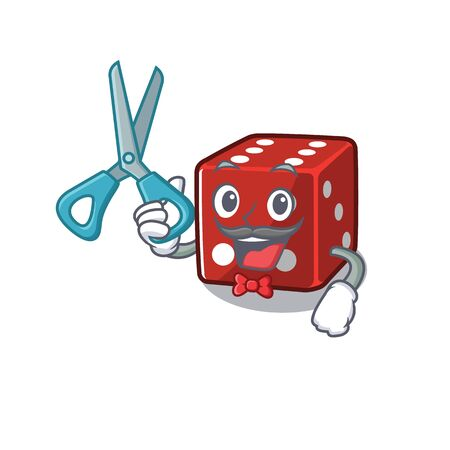 Smiley Funny Barber dice cartoon character design style. Vector illustration