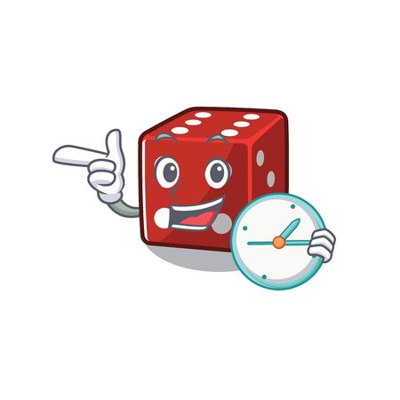 cartoon character style with dice having clock