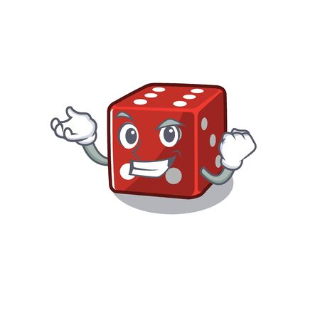Happy confident Successful dice cartoon character style Illustration