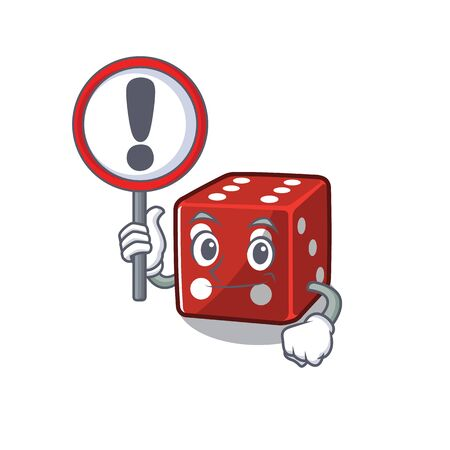 cool and funny dice raised up a Sign Illustration