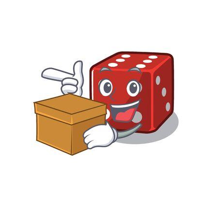 Cute dice cartoon character having a box 일러스트