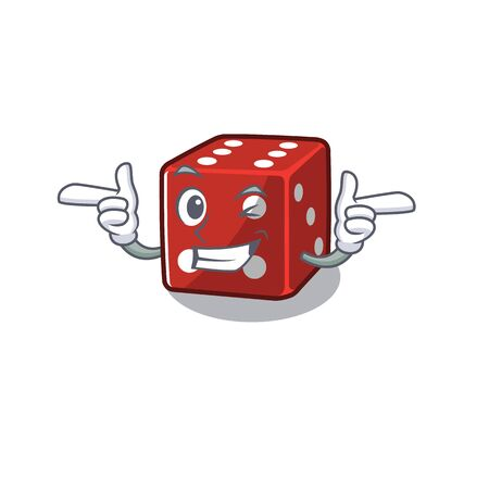 mascot cartoon design of dice with Wink eye. Vector illustration 向量圖像