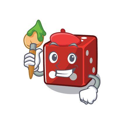 Cartoon character of dice Artist with a brush Illusztráció