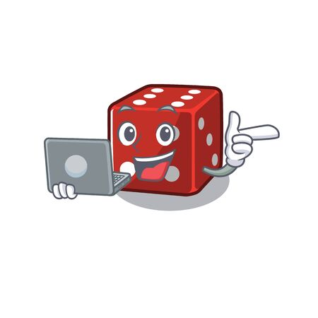 Smart character of dice working with laptop. Vector illustration