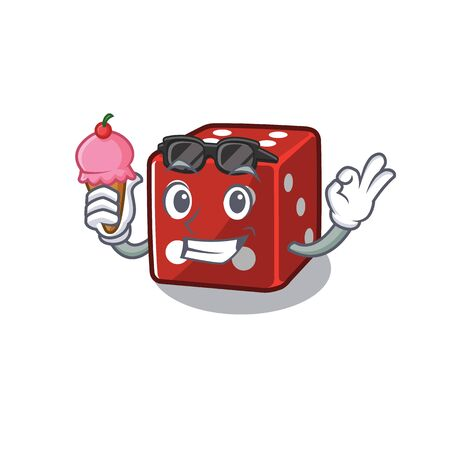 Dice mascot cartoon design with ice cream. Vector illustration