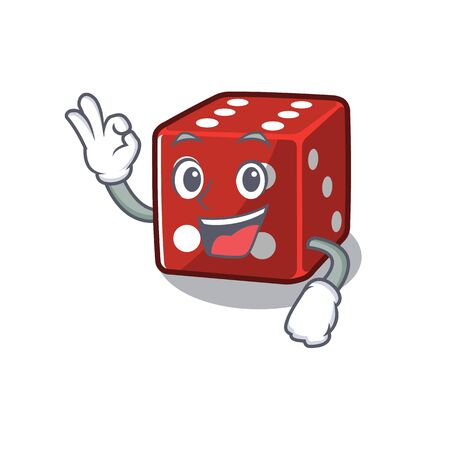 A picture of dice making an Okay gesture. Vector illustration