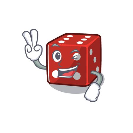 Smiley mascot of dice cartoon Character with two fingers. Vector illustration 向量圖像