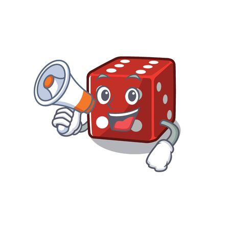 An icon of dice having a megaphone. Vector illustration Illustration