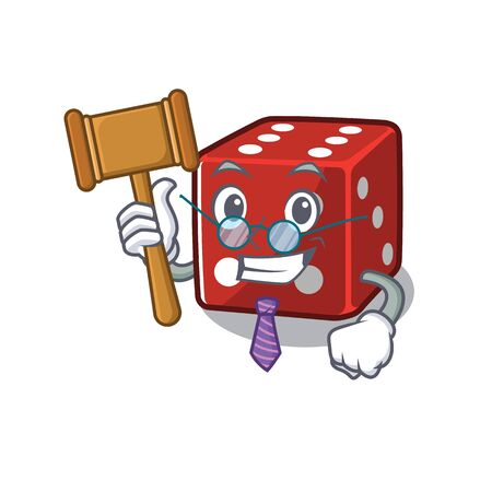 Smart Judge dice in mascot cartoon character style Illustration