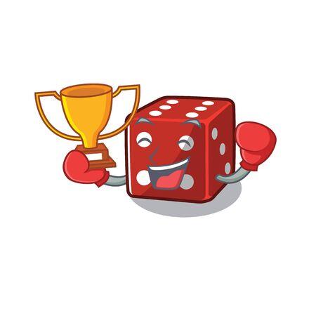 fantastic Boxing winner of dice in mascot cartoon style Illustration