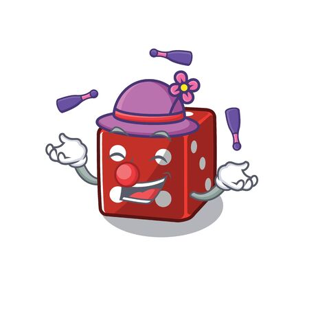 Smart dice cartoon character design playing Juggling