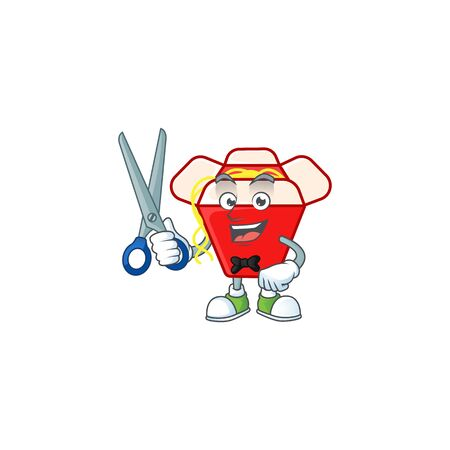 Cool friendly barber chinese box noodle cartoon character style. Vector illustration