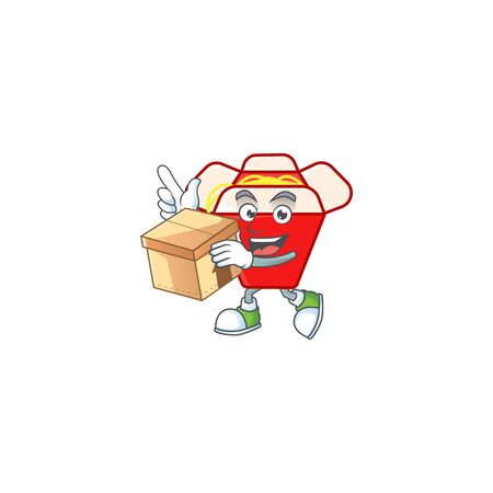 Cute chinese box noodle cartoon character having a box. Vector illustration
