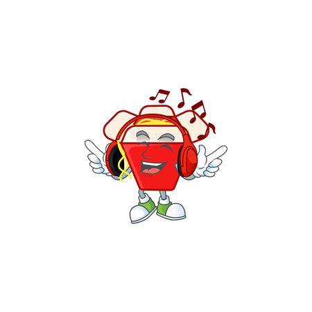 Listening music chinese box noodle mascot cartoon character design. Vector illustration