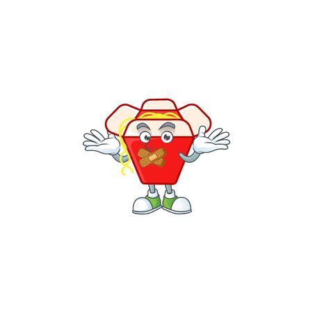 a silent gesture of chinese box noodle mascot cartoon character design. Vector illustration