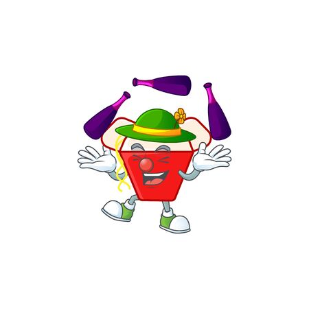 Smart chinese box noodle cartoon character design playing Juggling. Vector illustration