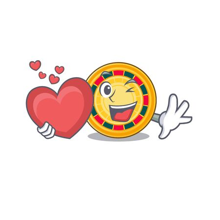 Funny Face roulette cartoon character holding a heart