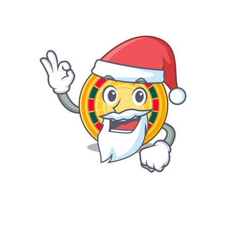 A picture of Santa roulette mascot picture style with ok finger