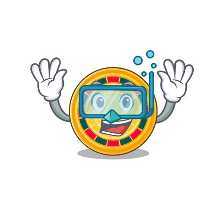 cartoon character of roulette wearing Diving glasses Illustration