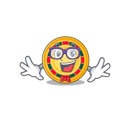 cartoon character of Geek with roulette design Çizim
