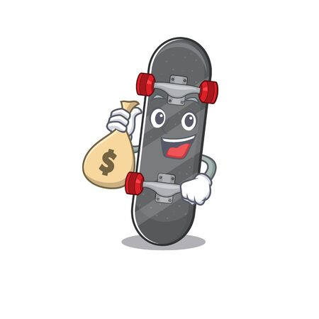 Happy rich skateboard cartoon character with money bag Ilustracja