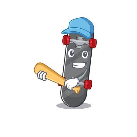 Sporty skateboard cartoon character design with baseball