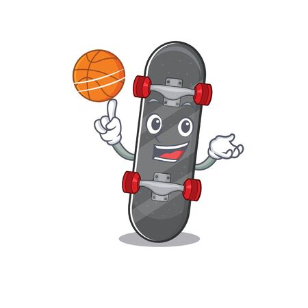 A mascot picture of skateboard cartoon character playing basketball