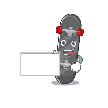 Funny skateboard cartoon character design style with board