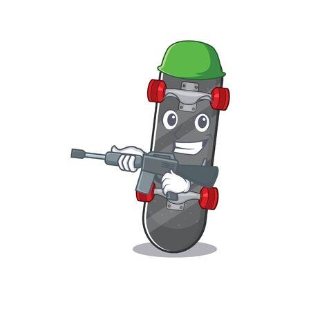 A cartoon design of skateboard Army with machine gun