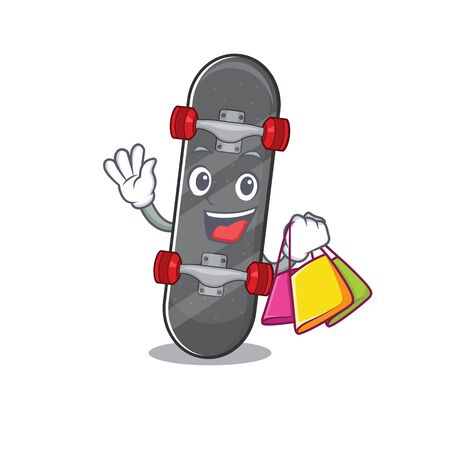 A happy rich skateboard waving and holding Shopping bag