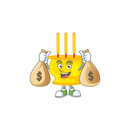 A picture of rich chinese gold incense cartoon character with two money bags. Vector illustration Illusztráció