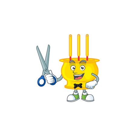 Cool friendly barber chinese gold incense cartoon character style. Vector illustration 向量圖像
