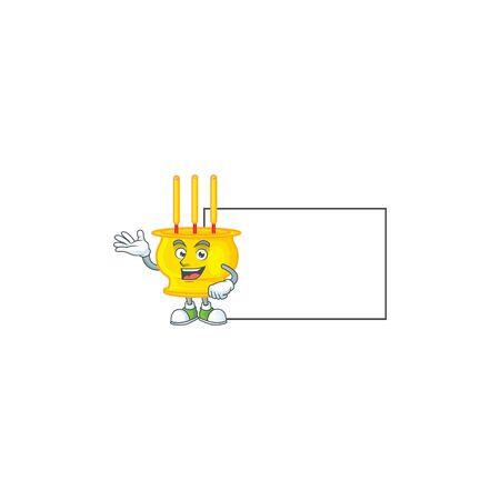 Smiley chinese gold incense with whiteboard cartoon character design. Vector illustration