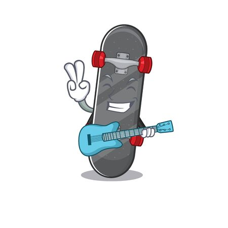 A mascot of skateboard performance with guitar