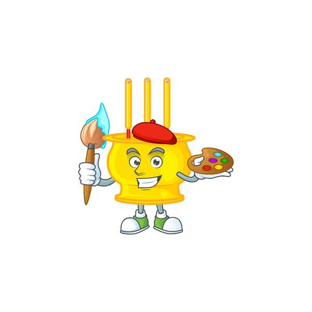 Smart chinese gold incense painter mascot icon with brush. Vector illustration