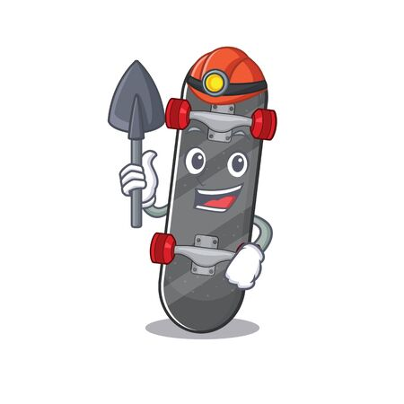 Cool clever Miner skateboard cartoon character design